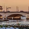 Flagler Bridge In Lights Panorama by Debra and Dave Vanderlaan