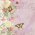 Fleurs De Pivoine - Watercolor W Butterflies In A French Vintage Wallpaper Style by Audrey Jeanne Roberts