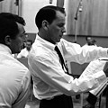 Frank Sinatra And Dean Martin At Capitol Records Studios 1958. by The Titanic Project