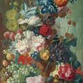 Fruit And Flowers In A Terracotta Vase by PixBreak Art