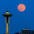 Full Moon With Space Needle by Hisao Mogi