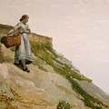 Girl Carrying A Basket  by Winslow Homer