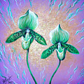 2 Green Orchids. Sunrise by Sofia Metal Queen