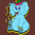 Happy Blue Elephant by Miroslav Nemecek