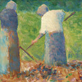 Haymakers At Montfermeil by Georges Seurat