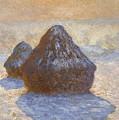 Haystacks, Snow Effect by Claude Monet