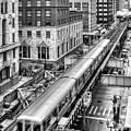 Historic Chicago El Train Black And White by Christopher Arndt