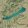Lake Balaton 3d Render Satellite View Topographic Map by Frank Ramspott