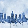 Los Angeles Skyline-blue by Erzebet S