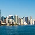 Miami Florida City Skyline Morning With Blue Sky by Alex Grichenko