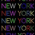 New York - Multicoloured On Black Background by LogCabinCottage