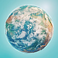North Pole 3d Render Planet Earth Clouds by Frank Ramspott