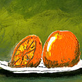 2 Oranges On A White Plate by Gary Henderson