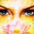 Pair Of Beautiful Blue Women Eyes Beaming Up Enchanting From Behind A Blooming Rose Lotus Flower by Jozef Klopacka