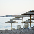 Parasol And Sunbeds At Sunset by Newnow Photography By Vera Cepic