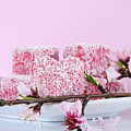 Pink Heart Shape Small Lamington Cakes by Milleflore Images