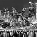 Pittsburgh Pennsylvania Skyline At Night Panorama by Jon Holiday