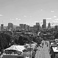 Portland Skyline Black And White by Cityscape Photography