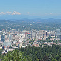 Portland Skyline With Mount Hood by Cityscape Photography