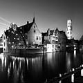 River Dijver And The Belfort At Night, Rozenhoedkaai, Bruges by Dave Porter