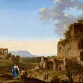 Roman Landscape With Ruins And Travellers by MotionAge Designs