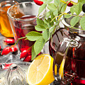 Rosehip Tea With Honey And Lemon In Glass by Wolfgang Steiner