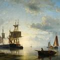 Sailing Ships At Dusk by Abraham Hulk