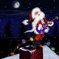 Santa Plays Guitar In A Snowstorm by Doug LaRue