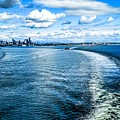 Seattle Washington Cityscape Skyline On Partly Cloudy Day by Alex Grichenko