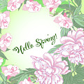 Spring  Background With White And Pink Peony by Natalia Piacheva