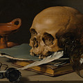 Still Life With A Skull And A Writing Quill by Pieter Claesz