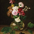 Still Life With Flowers In A Glass Vase And Cherry Twig by Franz Xaver Gruber
