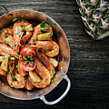 Stir Fry Prawns In Spicy Asian Pineapple And Herbs Sauce by Jacek Malipan