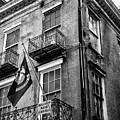 2 Story Building New Orleans Black White  by Chuck Kuhn
