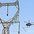 Stringing Power Cable By Helicopter by Inga Spence