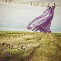 Summer Dress Blowing On Clothesline With Girl Walking Down Path by Sandra Cunningham