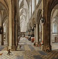 The Interior Of The Onze Lieve Vrouwekerk In Antwerp by Peeter Neeffs