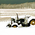 Tractor In Snowy Vineyard by Roger Soule