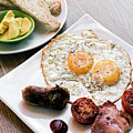 Traditional English British Fried Breakfast With Eggs Bacon And  by Jacek Malipan