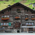 Traditional Swiss Alps Houses In Vals Village Alpine Switzerland by Jacek Malipan