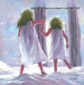 Two Sisters Jumping On The Bed  by Vickie Wade
