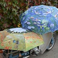 2 Umbrellas On Motorcycle  by Bruce Chevillat