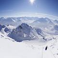 View From Summit Of Valluga, St Saint Anton Am Arlberg Austria by Peter Barritt