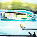 Vintage Val In The Turquoise Vintage Car by Jill Wellington