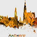 Watercolor Art Print Of The Skyline Of Antwerp In Belgium by Chris Smith