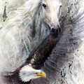 White Horse With A Flying Eagle Beautiful Painting Illustration by Jozef Klopacka