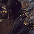 Woman In Splattered Golden Facial Paint by Veronica Azaryan