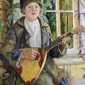 Young Boy With A Balalaika Nikolai Petrovich Bogdanov-belsky by Eloisa Mannion
