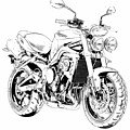 2011 Triumph Street Triple, Black And White Motorcycle by Drawspots Illustrations