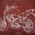 2018 Yamaha Mt-07 Blueprint - Red Background by Drawspots Illustrations